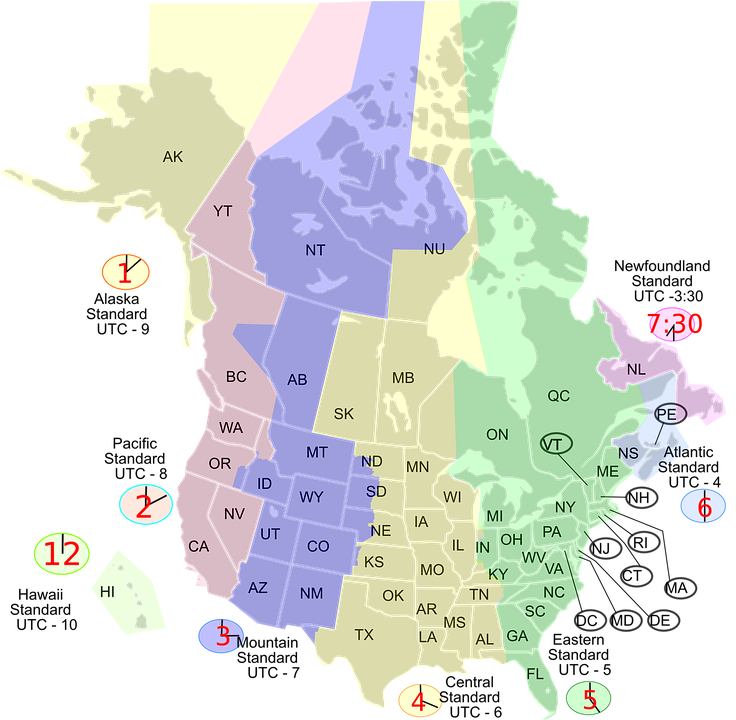 Timezone, Time, Zone, Map, United States, Usa, America